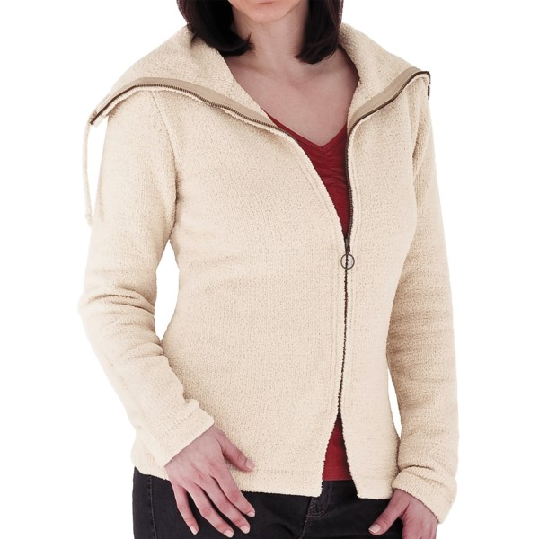 CLOSEOUTS . If clothes were edible, Royal Robbins' Chenille Zip-Up jacket would be a fine delicacy with its fuzzy-soft thermal fabric and cozy, layer-friendly cowl neck and zip front. Available Colors: SAHARA, JET BLACK, LIGHT OLIVE, PORT. Sizes: XS, S, M, L, XL.
