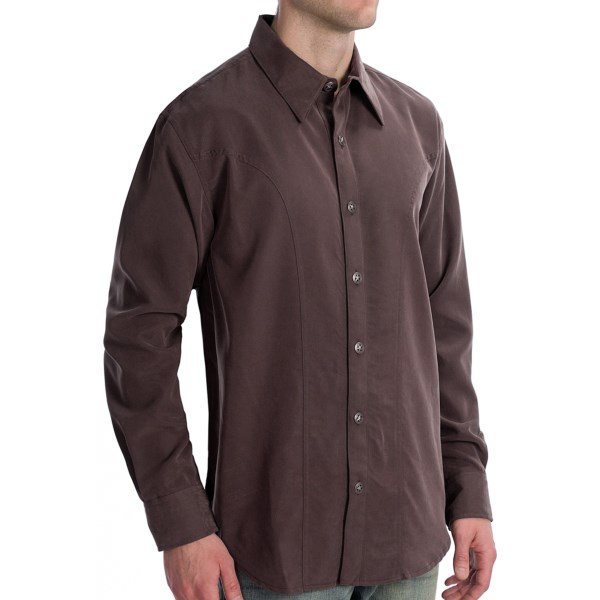 CLOSEOUTS . The richly hued and buttery soft modal-poly fabric of Scully's Lifestyle Polynosic shirt is accented by metal, star-shaped buttons and a western back yoke. Available Colors: MERLOT, BROWN. Sizes: S, M, L, XL, 2XL, 3XL, 4XL.