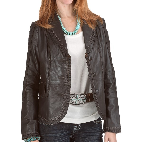CLOSEOUTS . Crafted of soft, supple leather, Scully's Contrast Stitch Plonge jacket get its chic style from the ruffled and thickly stitched trim, contrast stitching, raised leather seams and cropped length. Available Colors: BROWN. Sizes: XS, S, M, L, XL, 2XL.