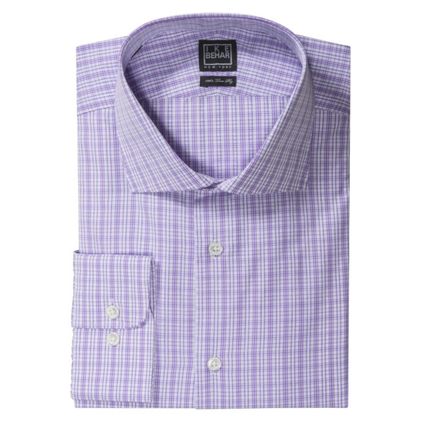CLOSEOUTS . Known for superlative fabrics like this exquisite purple check, Ike Behar's Black Label dress shirt is most definitely a cut above ordinary with its elegant spread collar and genuine mother-of-pearl buttons. Available Colors: EGGPLANT, WISTERIA, ROYAL PLUM, MIST, PETROL BLUE, PISTACHIO, PURPLE, BLUE.