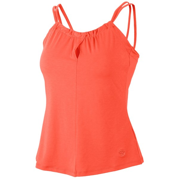 CLOSEOUTS . A pretty top with built-in performance, Mountain Hardwear's Lucania tank top combines a keyhole neckline and elegant straps with quick-drying, odor-controlling fabric technologies. Available Colors: SHARK, SEA SALT, SKYBOX, CORANGE, DEEP BLUSH. Sizes: XS, S, M, L, XL.