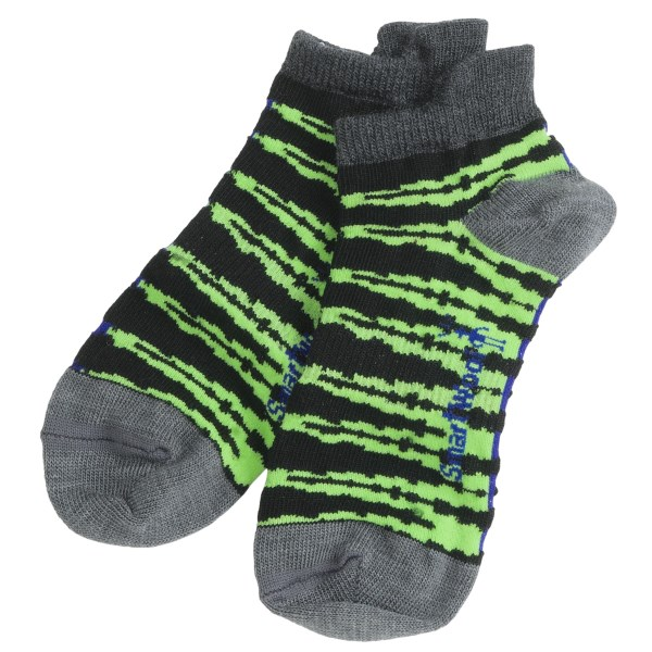 2NDS . Whether he's soaring over the ottoman in superhero gear or sauntering off for his first day of school, you can rest assured he'll spend the day in the comfy, cozy merino wool fibers of SmartWool's Slash Stripe socks. Available Colors: BLACK, NAVY HEATHER. Sizes: S, M, L, XS, XL.