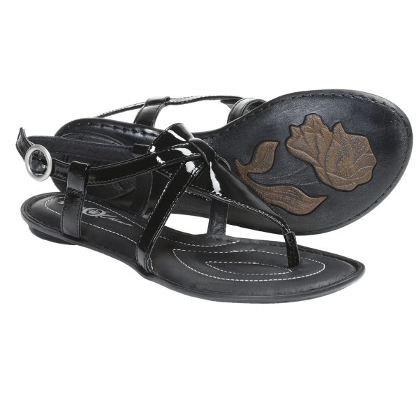 CLOSEOUTS . Nothing says summer like a go-to pair of sandals, and Crown by Born's Aberlin sandals do date night and beyond with their elegant, T-strap-inspired upper and amply cushioned footbed. Available Colors: BLACK PATENT, LIGHT BLUE PATENT, PINE NUTS METALLIC, CREAM PATENT, PINK PATENT, WOOD METALLIC. Sizes: 6, 7, 8, 9, 10, 11.