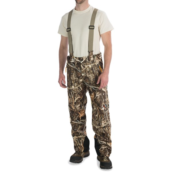 CLOSEOUTS . Browning's Dirty Bird Vari-Tech half bib overalls will keep you warm and dry on your next hunt with a Pre-Ventand#174; waterproof breathable membrane and cozy fleece lining. Available Colors: MOSSY OAK DUCK BLIND, REALTREE MAX-4. Sizes: 2XL, 3XL.