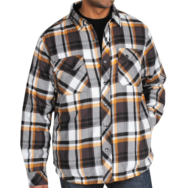 CLOSEOUTS . ExOfficio's Pocatello plaid shirt jacket takes a timeless look and gives it functionality. Under the handsome plaid is cozy, diamond-quilted insulation and a total of six practical pockets for all your on-the-go accessories. Available Colors: BLACK, DARK BRICK, ENSIGN. Sizes: S, M, L, XL, 2XL.