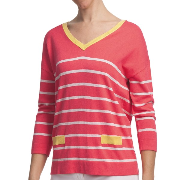 August Silk Stripe V-Neck Shirt - Cotton-Modal, 3/4 Sleeve (For Women)
