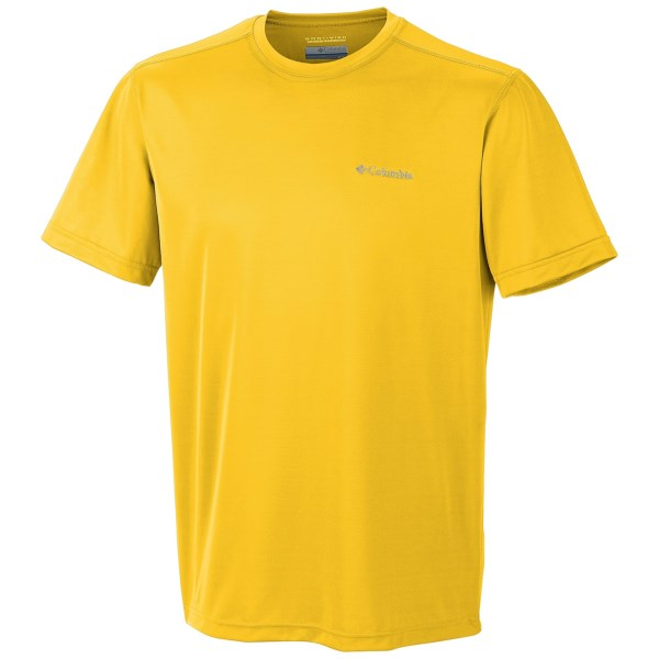 CLOSEOUTS . Beat the heat and the sun's rays without sacrificing outdoor time! Columbia Sportswear's Meeker Peak T-shirt is ready for everything from a rousing game of ball at the park to a rigorous summer hike, thanks to UPF 15 treatment and a wicking finish. Available Colors: STONE, AMAZON, CEDAR, ROYAL, GOLD LEAF, SANGUINE, LIGHT METAL, SPLASH, CINNABAR, FOLIAGE, COOL GREY, SUNLIT, ORANGE BLAST, WINDSWEPT, FLAME, BRIGHT YELLOW. Sizes: S, M, L, XL, 2XL.