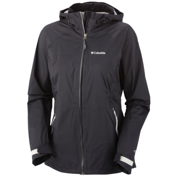 CLOSEOUTS . Hard to believe the light and minimalist Tracer Racer jacket from Columbia Sportswear can deliver such a command performance in the backcountry, where you need dependable waterproof protection and better-than-average breathability for those intense ascents. Available Colors: BLACK, FUSE GREEN. Sizes: XS, S, M, L, XL.