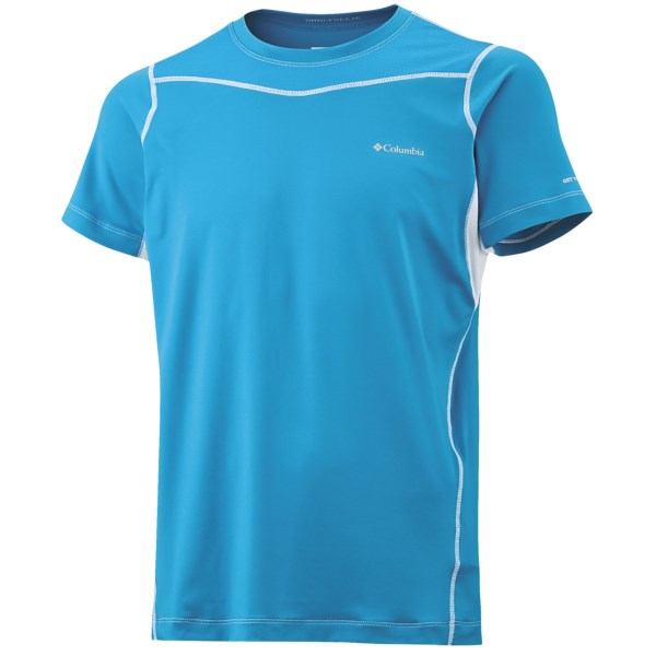 CLOSEOUTS . About as cool as you'll get during intense aerobic activity, Columbia Sportswear's lightweight top capitalizes on Omni-Freezeand#174; technology, advanced wicking and strategic venting to keep you dry, comfortable and pressing forward. Available Colors: BLACK, WHITE, COMPASS BLUE. Sizes: XS, S, M, L, XL, 2XL.