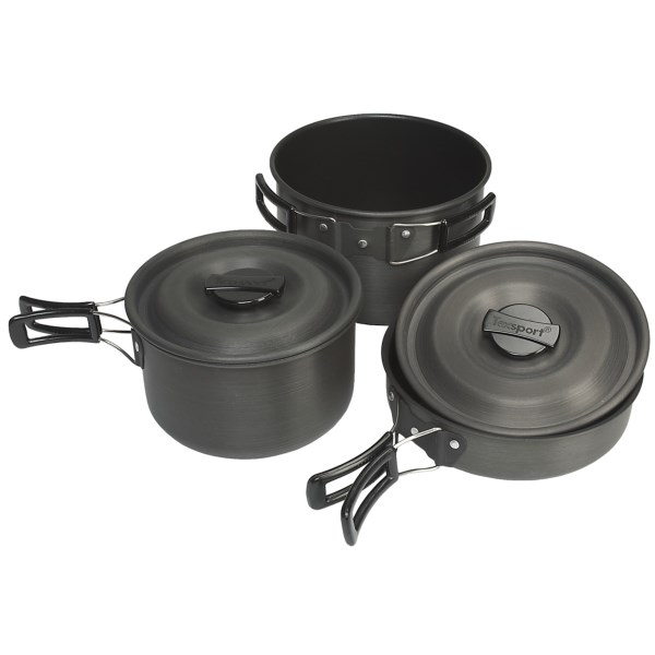 photo: Texsport Hiker Black Ice Hard Anodized Steamer Set