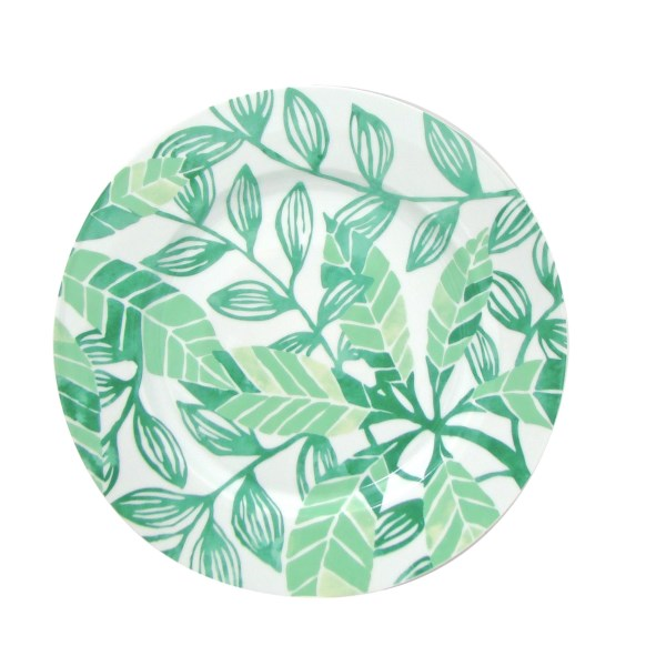CLOSEOUTS . There's an exuberance about the hand-drawn designs of these Lulu DK Leaf dinner plates, fashioned in fine porcelain in shades of mint and pistachio. Available Colors: GREEN.