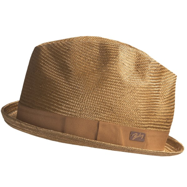 CLOSEOUTS . A fashionably distressed fedora that eases into any street function, Bailey's Alistar hat is made from loosely woven sisal straw that's been dyed to a most agreeable shade of golden toast. Conveniently crushable. Available Colors: TOAST. Sizes: S, M, L, XL.