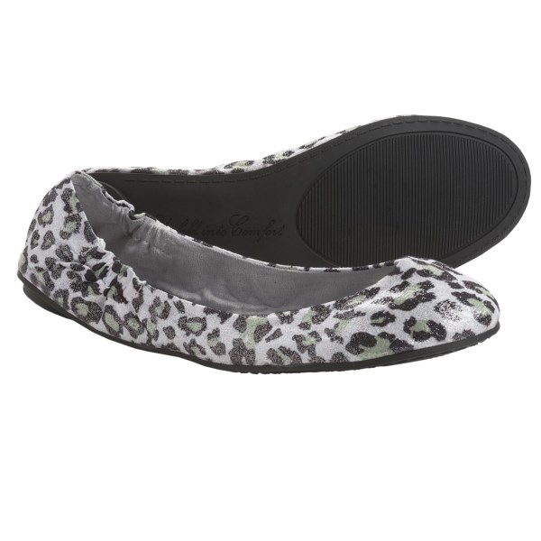 CLOSEOUTS . Exotic alternatives to high heels, luxurious Footzyfolds Boucle slip-on shoes are pretty, skid resistant, and fold away in a compact satin bag. Stow them in your desk drawer, glove compartment or purse for a quick and stylish remedy for tired feet. Available Colors: CHEETA, BLACK STUDDED, SILVER ANIMAL PRINT. Sizes: S, M, L, XL.