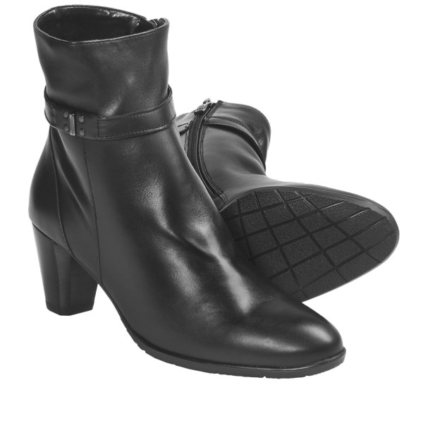 CLOSEOUTS . A sleek little bootie that exudes understated elegance, Ara's Terry ankle boot is made from smooth nappa leather, with studded ankle strap and stacked heel with light beveling. Available Colors: BLACK LEATHER. Sizes: 6.5, 7, 7.5, 8, 8.5, 9, 9.5, 10, 10.5, 11, 11.5.