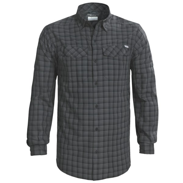 CLOSEOUTS . When the trail of life heats up, Columbia Sportswear's Silver Ridge plaid shirt cools you down with strategic venting, moisture-wicking Omni-Wickand#174; advanced evaporation and Omni-Shadeand#174; UPF 30 sun protection. Available Colors: BLACK, FOSSIL MINI PLAID, FOSSIL PLAID, FOSSIL TONAL PLAID, MARSH, GRAVEL, DEEP WOODS MINI CHECK, EMERALD, PALM MINI PLAID, PALM PLAID, ARISTOCRAT MINI PLAID, ARISTOCRAT PLAID, ARISTOCRAT LARGE PLAID, ROYAL, HEATWAVE MINI PLAID, SEA SALT LARGE PLAID, SPLASH SMALL PLAID, SPARK ORANGE SMALL PLAID, FOLIAGE SMALL PLAID, COOL GREY SMALL PLAID, FOSSIL LARGE PALID, 22, HYPER BLUE LARGE PLAID, MOUNTAIN SMALL PLAID, TUSK PLAID, EBONY BLUE MINI CHECK, TONAL SMALL CHECK, ROCKET PLAID, MARSH MINI CHECK, BACKCOUNTRY GREEN PLAID, BUFFALO PLAID, HYPER BLUE SMALL PLAID, AZUL PLAID. Sizes: S, M, L, XL, 2XL.