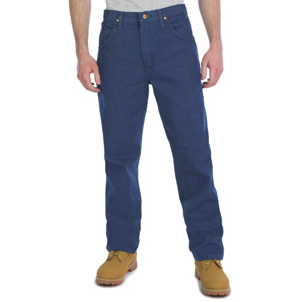 2NDS . The perfect jeans for ranch work during the week and going to the rodeo on the weekend, Wrangler's Cowboy Cut relaxed fit jeans kick it cowboy cool with tough 14 oz. cotton denim. Available Colors: PRE WASH DENIM, CREEK WASH, CREST DENIM, ROCKY TOP, GK STONE WASH, DARK INDIGO, BLEACH WASH.