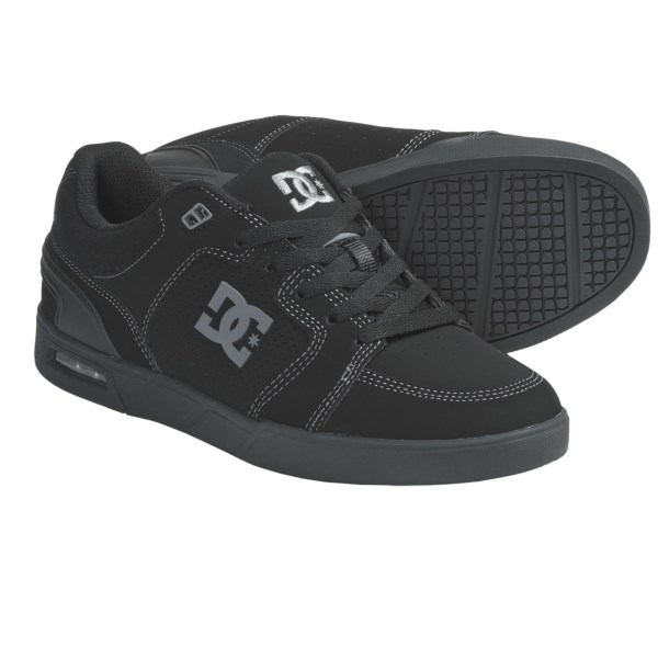 CLOSEOUTS . With airbag technology in the heel for impact protection and plenty of cushioning in the upper for support, DC Shoes' Monty skate shoes are both skatetastic and great for kicking it around town. Available Colors: BLACK/BATTLESHIP. Sizes: 6, 7, 7.5, 8, 8.5, 9, 10, 11, 11.5.