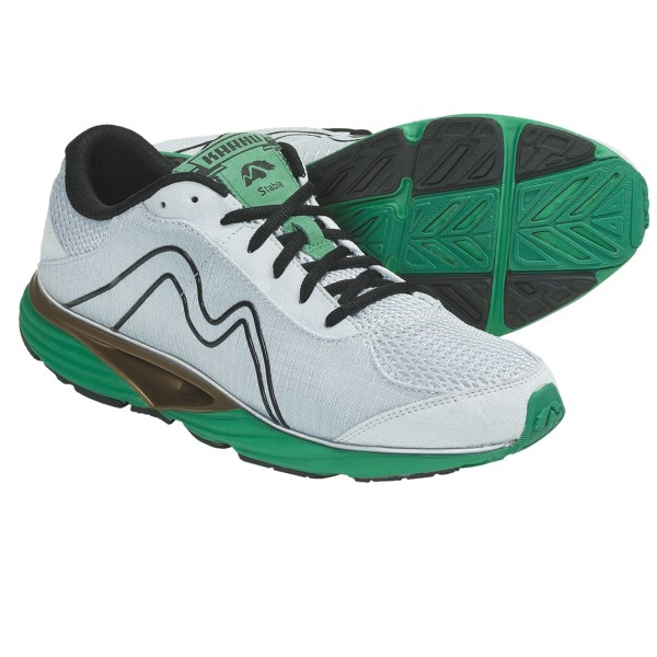 CLOSEOUTS . Designed to deliver the best in on-pavement performance, Karhu's Stable2 Fulcrum running shoes feature Stability Fulcrum Technology that aids feet in a natural, more accelerated heel-strike to toe-off transition, and promotes each foot's natural abilities while providing maximum stability and cushion. Available Colors: GREY/PARAKEET. Sizes: 8, 8.5, 9, 9.5, 10, 10.5, 11, 11.5, 12, 12.5, 13, 14.