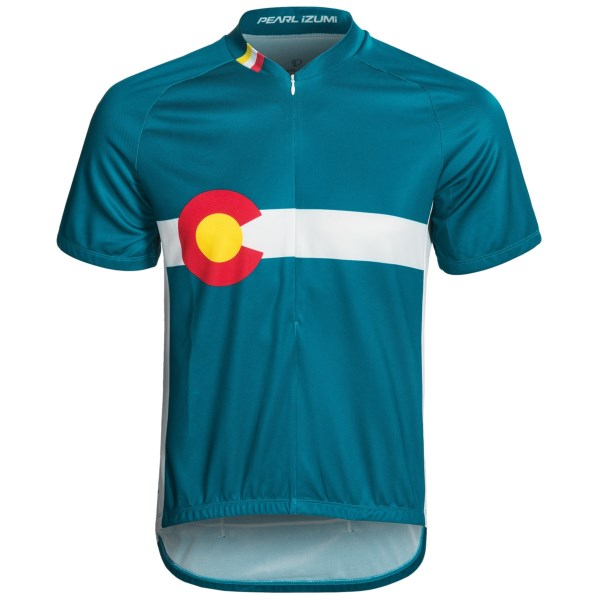 CLOSEOUTS . Push through the steepest climbs and longest rides in Pearl Izumi's Select Limited jersey, made of lightweight, breathable and moisture-wicking fabric with a zip neck and original graphics. Available Colors: SAFETY ORANGE, BINARY TRUE BLUE, PELOTON WHITE, DATA ELECTRIC BLUE, SUMMIT CYCLE, CO LTD, COLORADO STATE, NEW YORK STATE, TEXAS STATE, OREGON STATE, ROULEUR TRUE RED, METRO, CRASH, SPRINTER, STELLA NERO. Sizes: S, M, L, XL, 2XL.
