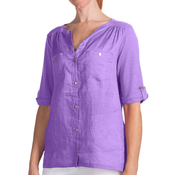 August Silk Modern Hybrid Hi-Lo Hem Shirt - Linen Blend, Short Sleeve (For Women)