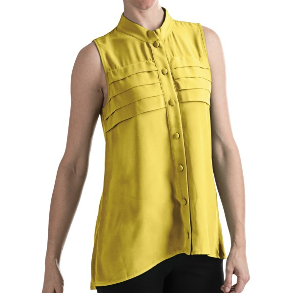 August Silk Modern Hybrid Rayon Shirt - Sleeveless (For Women)