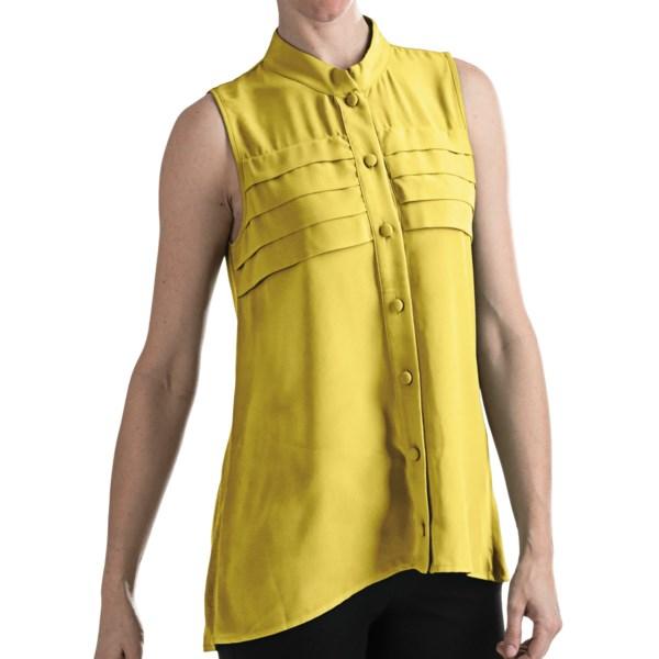 August Silk Modern Hybrid Rayon Shirt - Sleeveless (For Women)
