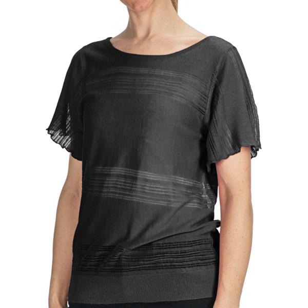 August Silk Open-weave Stripe Shirt - Criss-cross Back, Short Sleeve (for Women)