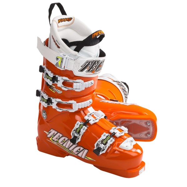 CLOSEOUTS . Stiff and race-ready, Tecnicaand#39;s Diablo Inferno 130 Race alpine ski boots deliver excellent responsiveness and sensitivity, thanks to a dual cuff alignment and Power Chassis frame that maximizes edge-to-edge power transmission. Available Colors: ORANGE. Sizes: 4.5, 6, 6.5, 7, 7.5, 8, 8.5, 9, 9.5, 10.5.