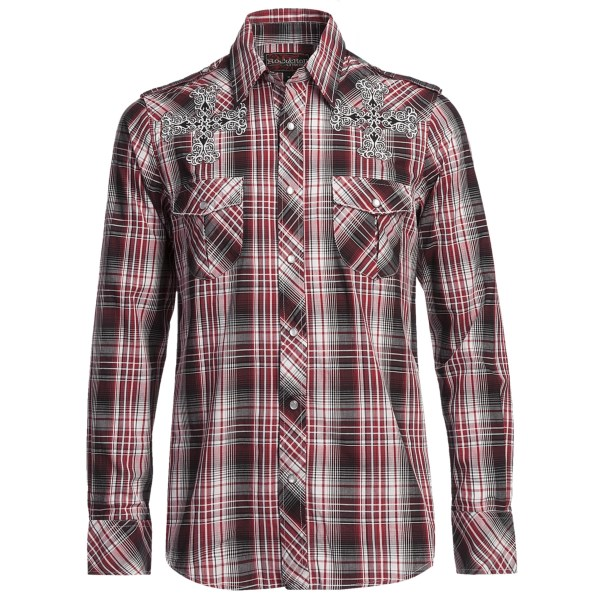 CLOSEOUTS . Rock andamp; Roll Cowboy's satin plaid cross shirt lends a soft finish to an edgy style, the detailed cross embroidery providing a perfect contrast to the crisp, clean plaid background. Available Colors: RED. Sizes: S, M, L, XL, 2XL.