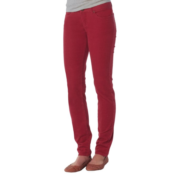 CLOSEOUTS . Made of velvety soft and stretchy fine-wale corduroy in a sleek, skinny-leg design, prAna's Trinity cord pants perfectly pair up with tall boots, flats, sweaters, tees and cardis alike. Available Colors: COAL, ESPRESSO, CRUSHED CRAN, DARK GINGER, THISTLE, TORTOISE. Sizes: 0, 2, 4, 6, 8, 10, 12, 14.