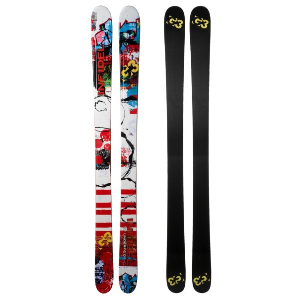 2NDS . G3and#39;s Infidel alpine skies provide all-mountain versatility without sacrificing flotation. With the continuous negative curvature of the Sweet Rise profile and a 97mm waist, these hard-charging and aggressive freeride skis are built for everyday fun on a variety of snow conditions. Available Colors: SEE PHOTO.