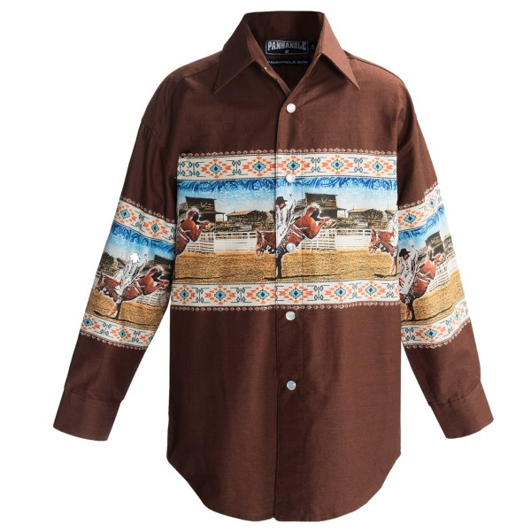 CLOSEOUTS . Young cowboys will love the Old-West look and comfortable cotton construction of Panhandle Slim's Border Print shirt. Available Colors: BLACK/TEAL/AZTEC, HUNTER/RIDER, DARK BROWN/AZTEC, DARK BROWN/BRONC, DENIM/ROPER. Sizes: XS, S, M, L, XL.
