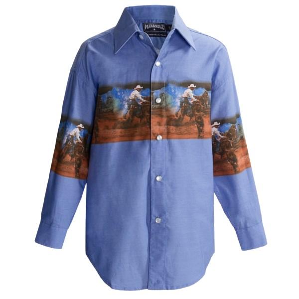 Panhandle Slim Border Print Shirt - Snap Front, Long Sleeve (For Boys)