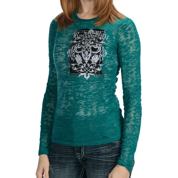 Rock And Roll Cowgirl Burnout Applique Shirt - Long Sleeve (for Women)