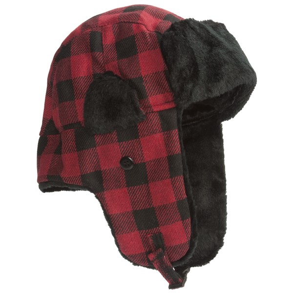 CLOSEOUTS . The timeless style and warm construction of Grand Sierra's buffalo check aviator trapper hat is your answer to frigid winter days. A buckle closure firmly secures your noggin inside synthetic insulation with a combination of diamond-quilted and faux-fur lining. Available Colors: NEEDS COLOR, BLACK/RED. Sizes: O/S, M/L, L/XL.