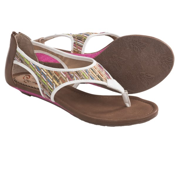 CLOSEOUTS . Poetic Licence's Sincerely Jules sandals offer a fun, unique style thanks to a colorfully striped woven upper, funky zip-entry heel and summery, thong-style silhouette. Available Colors: NATURAL, BLACK. Sizes: 7, 6, 6.5, 7.5, 8, 8.5, 9, 9.5, 10.