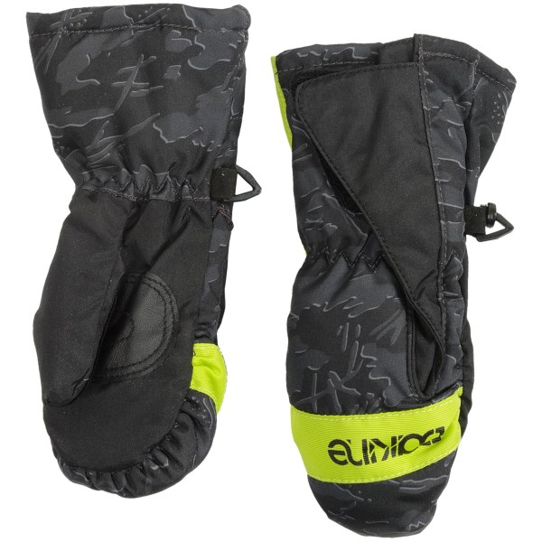 CLOSEOUTS . Even the most well-behaved young'uns love to seek some kind of snow-covered adventure, so get them ready for the cold and snow with DaKine's Brat mittens, made with a water-repellent shell, warm high-loft insulation and soft fleece lining. Available Colors: BLACK, ARCTIC, HEARTS, ANIMALS, CASCADES, PHANTOM, OWL, WILDCAT, YETI, ICEBERG, FOXRUN, WALRUS. Sizes: S, M, L, O/S.