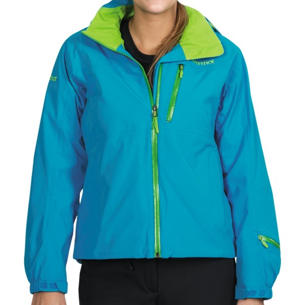 CLOSEOUTS . Marmotand#39;s Verbier ski jacket is built to handle the unpredictable weather of its namesake Swiss ski resort. Two-layer MemBrainand#174; waterproof breathable fabric, water-resistant zippers and a zip-off powder skirt combine superior weather protection and a women-specific fit. Available Colors: BLUE SEA, BLACK, CHERRY TOMATO. Sizes: XS, S, M, L, XL.