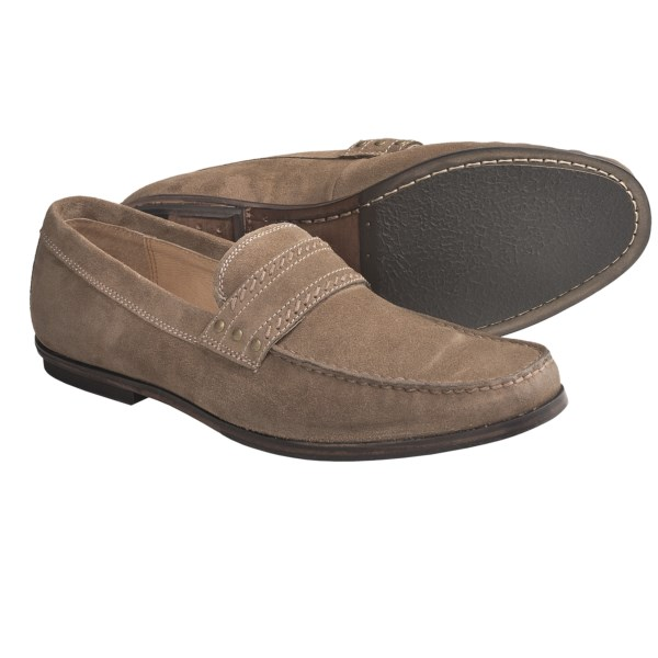 CLOSEOUTS . Crafted of fine suede, John Varvatos Star USA Madison Stud loafer shoes combine intricate stitching details and gold-tone studs for a refined, yet laid-back look. Available Colors: SANDSTONE SUEDE, ESPRESSO SUEDE. Sizes: 7, 7.5, 8, 8.5, 9, 9.5, 10, 10.5, 11, 11.5, 12, 13.