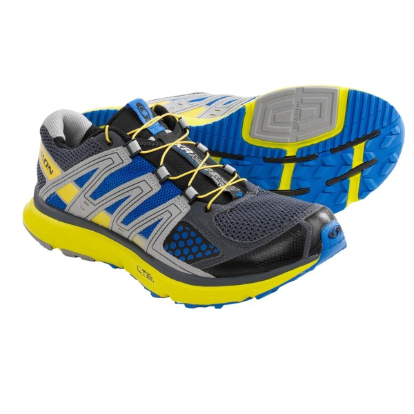 CLOSEOUTS . Designed for moderate mileage training, Salomon's XR Mission trail running shoes take you from door to trail in the move-with-you comfort of a SensiFLEX system and the cushioning of an LT Muscle midsole. Underfoot, the combination of Contagripand#174; LT and HA outsole compounds and aggressive treads provide maximum traction over a variety of surfaces. Available Colors: BLACK/YELLOW, CLEMINTINE/ALUMINIUM/BLACK, BLACK/AUTOBAHN/GREEN, BLACK/LIGHT GREEN-X/POP GREEN, CLOVER GREEN/BLACK/LIGHT GREEN, ONIX/CLOUD/RED, GREY DENIM/YELLOW/BLUE. Sizes: 7, 8, 8.5, 9, 9.5, 10, 10.5, 11, 11.5, 12, 12.5, 13, 14, 7.5.