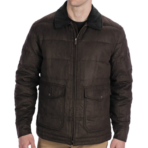 CLOSEOUTS . A down jacket that doesnand#39;t  look  like the average down jacket, this Rainforest quilted bomber jacket is handsome as can be in a water-resistant microsuede twill. Although low bulk and compressible, the down insulation provides an impressive warmth-to-weight ratio. Available Colors: HAWK, FIRE, GUINESS. Sizes: S, M, L, XL, 2XL.