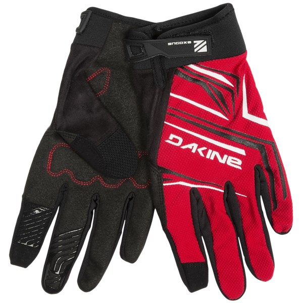 CLOSEOUTS . Nothing is holding you back when you ride with DaKine's Exodus cycling gloves, featuring stretchy, moisture-wicking and breathable mesh on the back and supple, water-resistant synthetic leather with light pressure-point padding on the palms. Available Colors: STONE, BLACK, CHARCOAL, RED, SCUBA. Sizes: XS, S, M, L, XL.