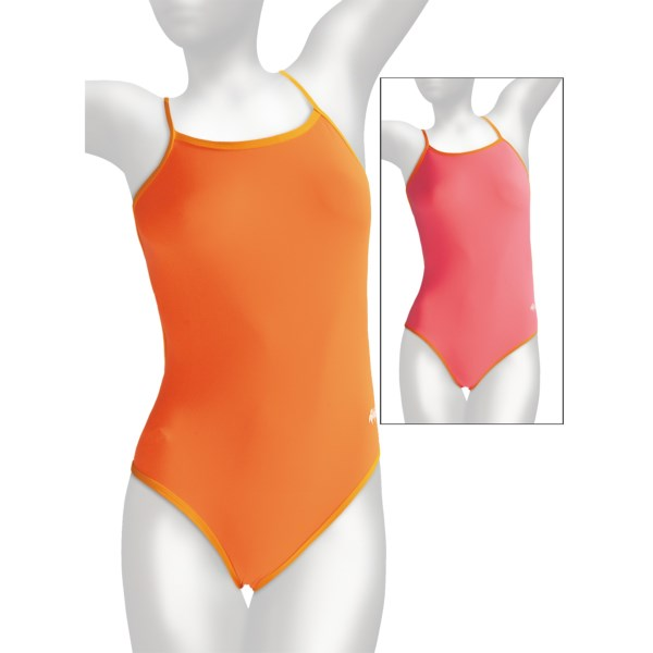 CLOSEOUTS . Choose between two solid colors of UPF 50 , chlorine-resistant performance in Dolfin's Solid competition swimsuit, complete with a cute, non-restrictive cross-back design you'll love. Available Colors: LIME/TURQUOISE, ORANGE/YELLOW, FLASH/PINK, TRACKS BLUE, TRACKS RED, TRACKS PURPLE, TRACKS GOLD, BLACK/GOLD, BLACK/RED, BLACK/PURPLE, BLACK/ORANGE, TRACKS GREEN. Sizes: 26, 28, 30, 32, 34, 36, 38, 22, 24, 40.