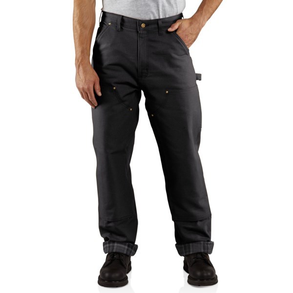 2NDS . Rugged, warm and ready for demanding assignments, Carhartt's Firm-Duck Double-Front dungarees are crafted of seriously tough 12 oz. firm-hand, ring-spun cotton duck and lined with soft, warm flannel from waist to cuff. Available Colors: BLACK, CARHARTT BROWN.
