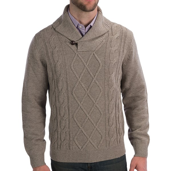 CLOSEOUTS . A fall and winter favorite through and through, Toscanoand#39;s cable-knit sweater combines warm, breathable merino wool with soft acrylic, a classic knit design, and handsome shawl collar with loop-through button closure. Available Colors: DESERT SAND MELANGE. Sizes: M, L, XL, 2XL, S.