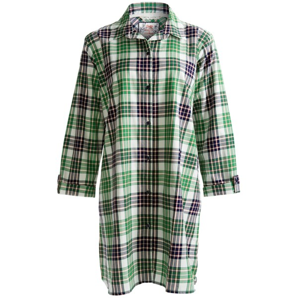Calida Lina Big Shirt - Woven Cotton, Long Roll Sleeve (For Women)