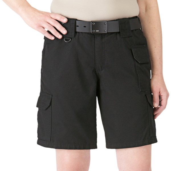 CLOSEOUTS . See for yourself why 5.11 Tactical shorts are the choice of law enforcement and military professionals everywhere. Loaded with functionality features like extra-wide belt loops and three handy cargo pockets, the durable cotton canvas fabric becomes increasingly comfortable over time. Available Colors: BLACK. Sizes: 2, 4, 6, 8, 10, 12, 14, 16, 18, 20.