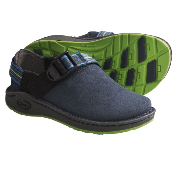 CLOSEOUTS . Chaco PedShed EcoTread shoes offer slip-on convenience  for school days and weekend adventures, with a suede upper and a non-marking EcoTread outsole. Available Colors: CHOCOLATE BROWN, BLACK, NAVY, FIG, OLIVINE. Sizes: 4, 5, 6.