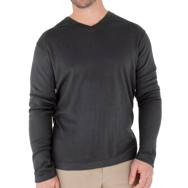 Royal Robbins The Duke Shirt   UPF 50+  V Neck  Long Sleeve (For Men)   PEWTER (XL )