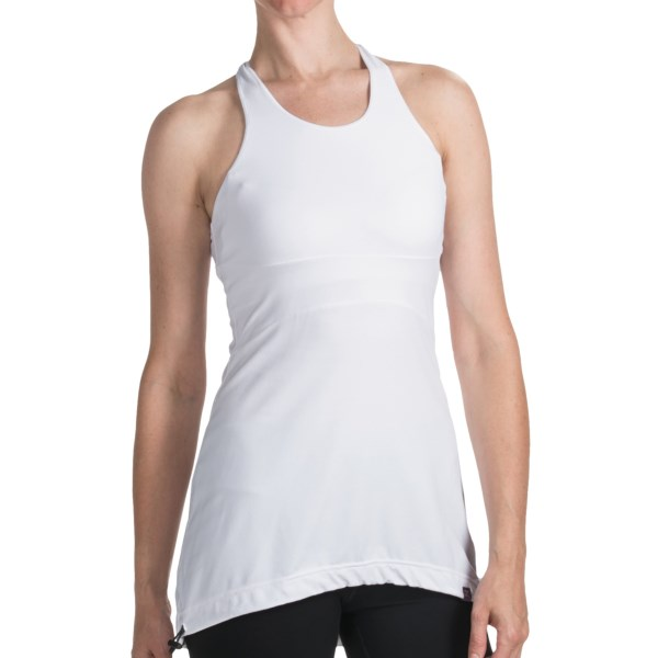 CLOSEOUTS . With a long back for full rear coverage and a drawcord hem for inversions, Zobhaand#39;s racerback tank top is ideal for relaxation yoga or any other low-impact, stress-reducing activity. Available Colors: WHITE, BLACK/BLACK, PHANTOM/BLACK, PHANTOM HEATHER, PERFECT PURPLE. Sizes: XS, S, M, L, XL.